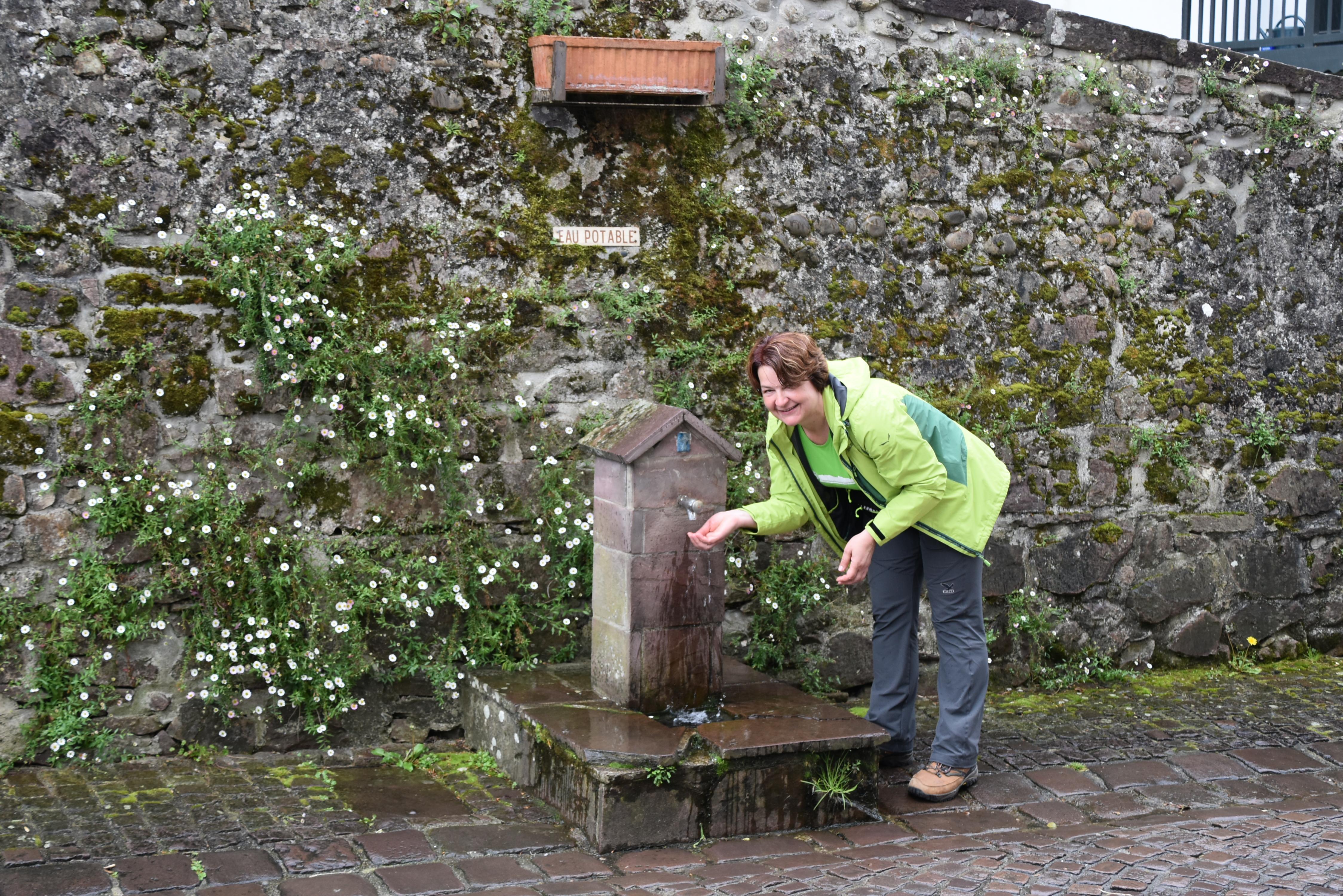 Ob poti so vodnjaki na gosto posejani